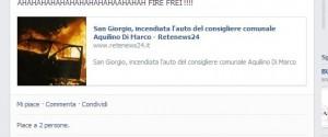 Sul web c'è chi ironizza sull'incendio dell'auto del consigliere Di Marco