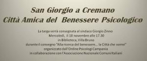 Settimana del benessere psicologico a San Giorgio, oggi un convegno a villa Bruno