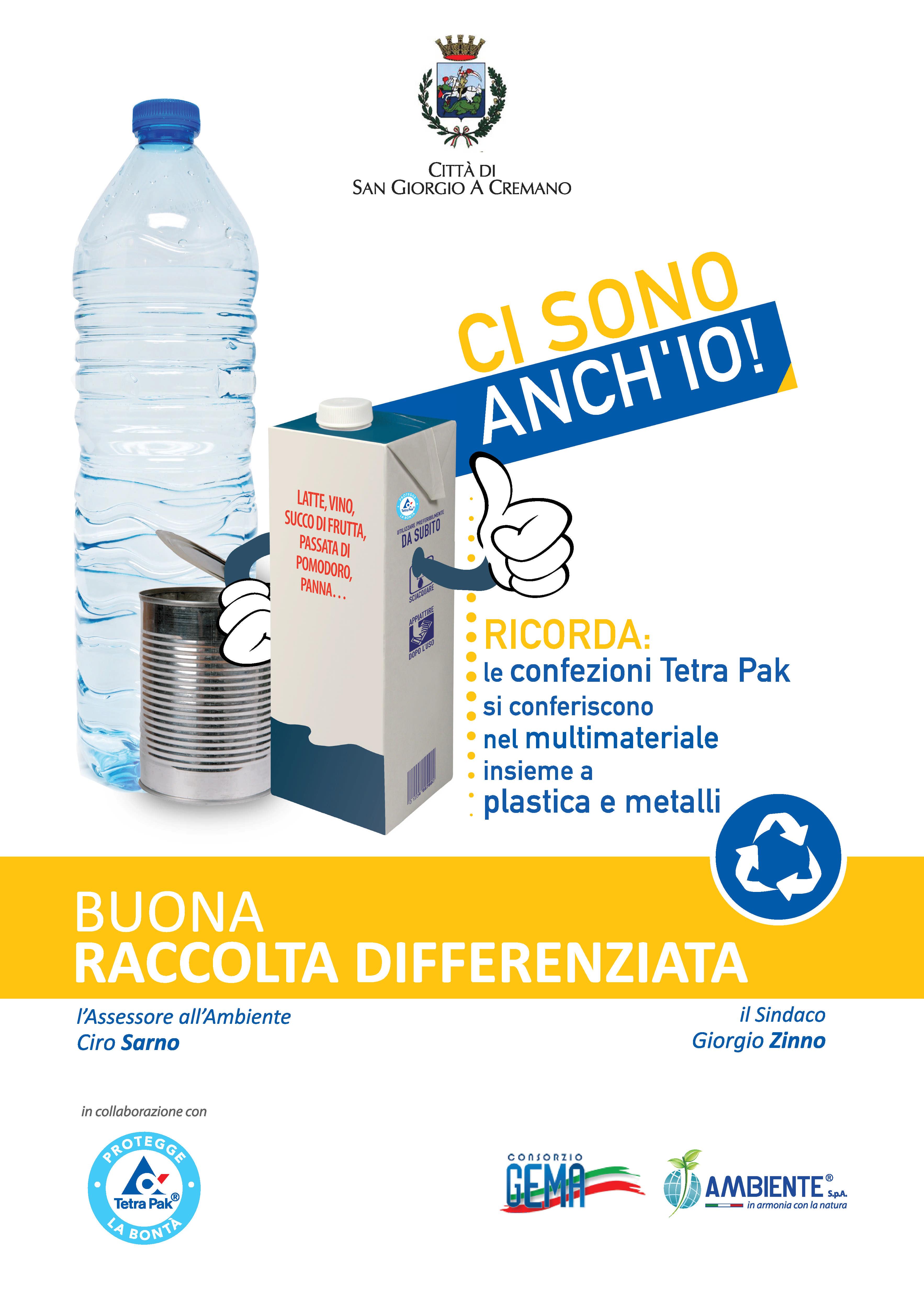 Cambiano le modalità di conferimento dei rifiuti al via la campagna informativa con Tetrapak Italia