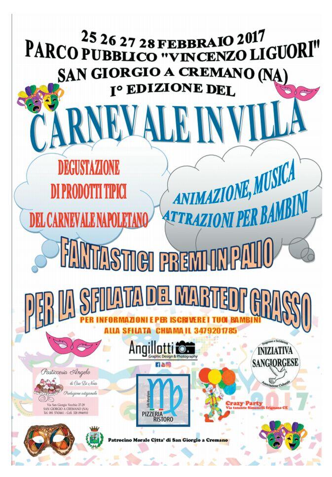 Carnevale in Villa dal 25 Febbraio nel parco pubblico Vincenzo Liguori