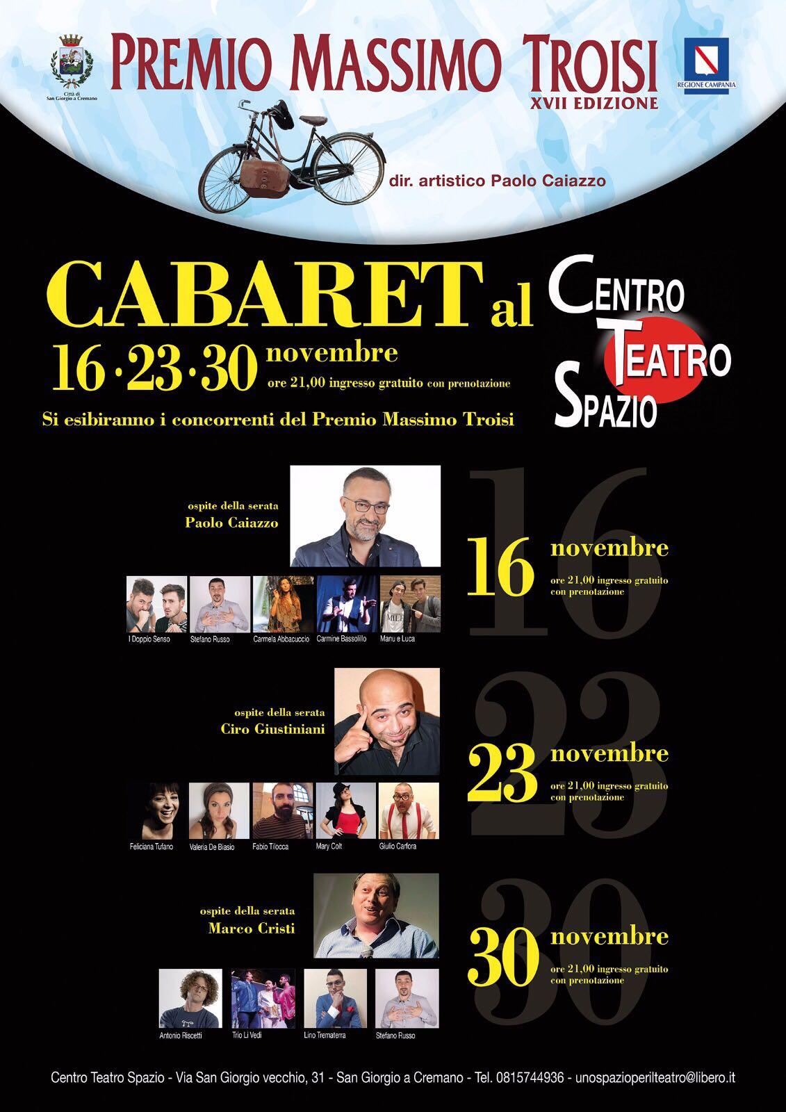 Premio Massimo Troisi - seconda fase.  Attori comici in scena al Centro Teatro Spazio lo storico tea...
