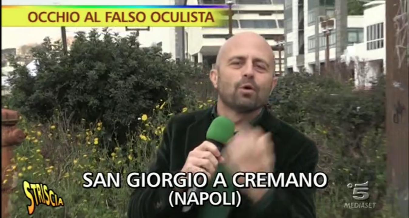 Falso oculista, Striscia la notizia con Abete a San Giorgio a Cremano per denunciare l'impostore